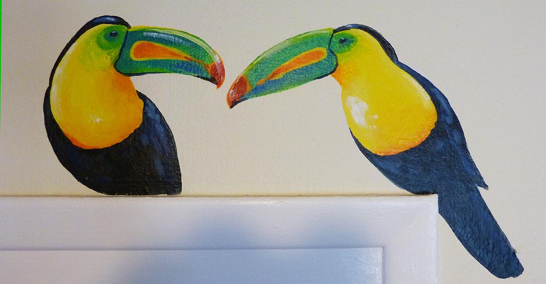 jungle nursery, parrots, birds, tropical, toucan