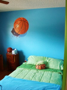 hand painted mural of a basketball in a bedroom by Boulder Murals