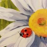 Big sunflowers and ladybugs exam room mural