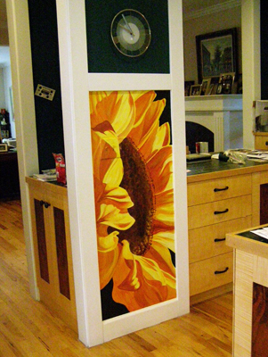 hand painted mural of large sunflower in a kitchen by Boulder Murals, sunflower