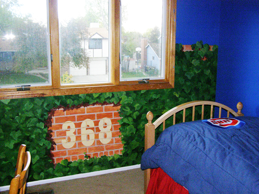 hand painted mural of Wrigley Field in a bedroom by Boulder Murals, cubs, chicago cubs,