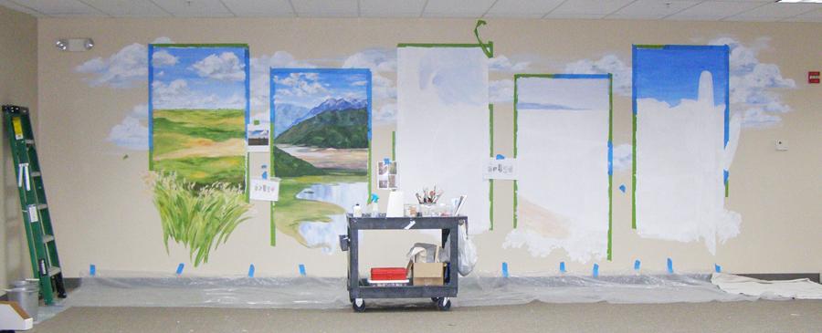 hand painted mural, mountains, ocean, desert, prairie, work in progress