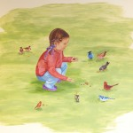 hand painted mural in Day Treatment Center - Community Reach Center by Boulder Murals, dogs, playground, lamp post, tree, squirrel, vegetables,