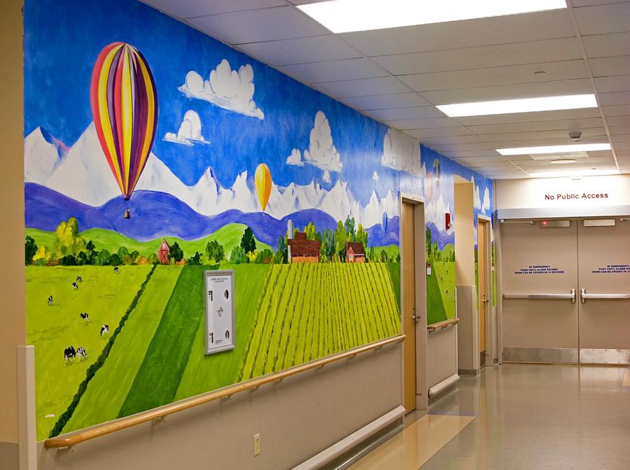hand painted mural in Good Samaritan Medical Center by Boulder Murals, hot air balloons, snowboarder, boy climbing a tree