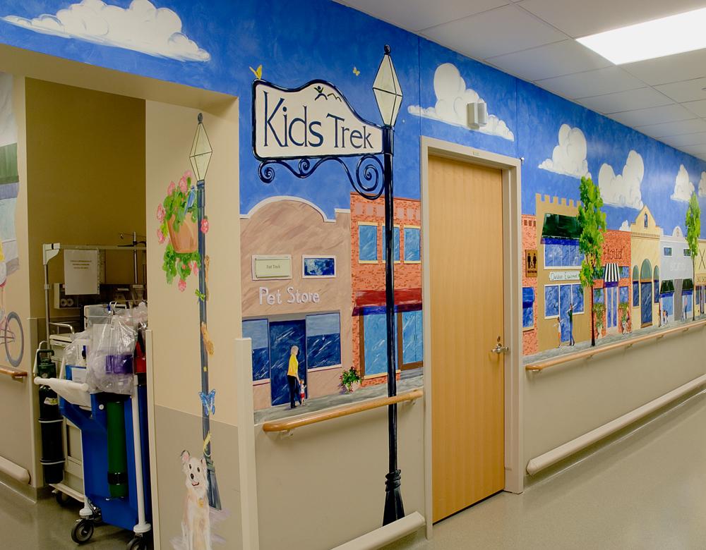 hand painted mural in Good Samaritan Medical Center by Boulder Murals, hot air balloons, snowboarder, sea turtles,