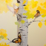 Aspen tree with birds and butterflies by Boulder Murals