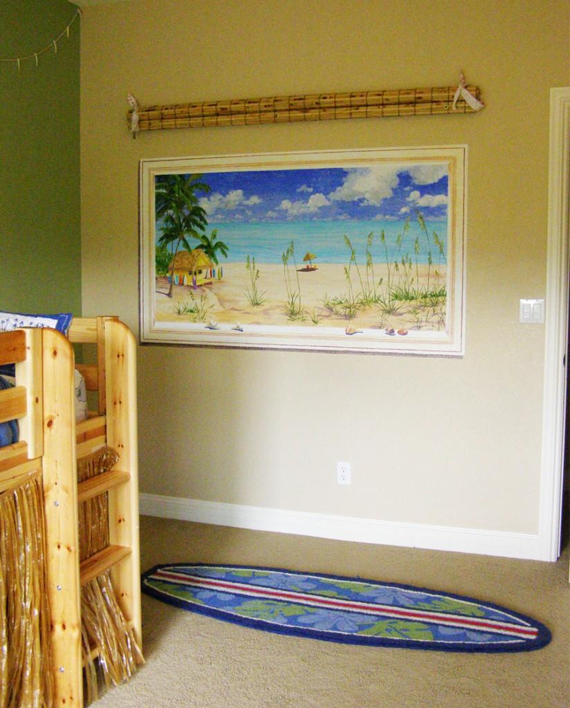 Ocean themed bedroom, tropical hut,