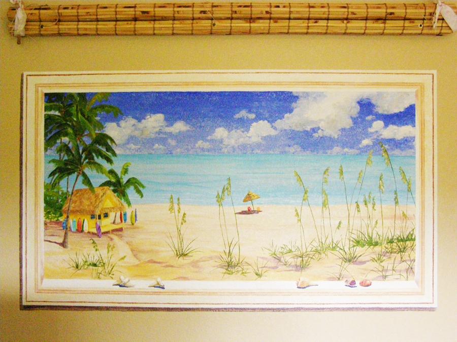 Ocean themed bedroom, tropical hut window